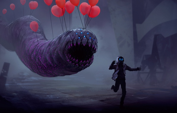 Picture balloon, people, ball, runs, the worm, balloon, romantic apocalyptic