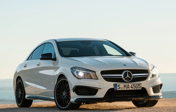 Picture machine, white, lights, Mercedes-Benz, Mercedes, AMG, the front, CLA