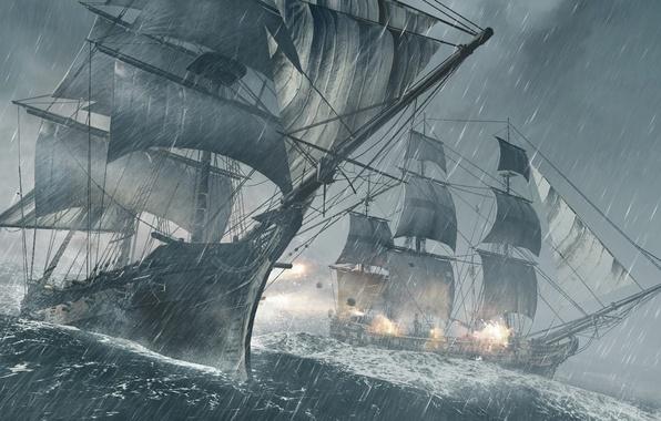 Picture sea, storm, rain, ship, Microsoft Windows, Ubisoft, shots, Xbox 360, Assassin's Creed, kernel, 2013, Ubisoft …