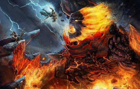 Picture girl, monster, warrior, Archer, art, lava, giant, battle, the battle