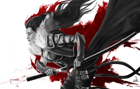 Picture girl, death, blood, sword, katana, warrior, samurai, Art