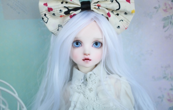 Picture doll, blue eyes, bow, long hair, white hair, doll, BJD