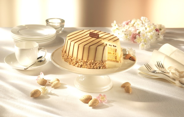 Picture flowers, table, food, cake, cream, dessert, cakes, sweet, marzipan, serving, almonds. chocolate