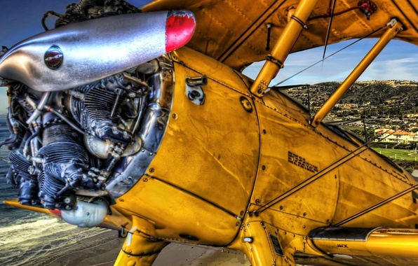 Picture the sky, the plane, landscape, wing, hdr, propeller
