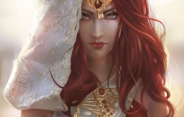 Picture look, girl, decoration, face, art, fantasy, red hair