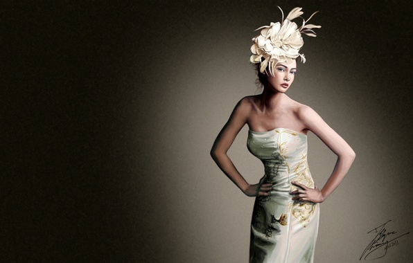 Picture flower, girl, background, dress, art