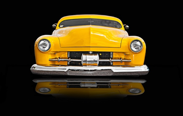 Picture yellow, retro, car, classic, the front, classic car