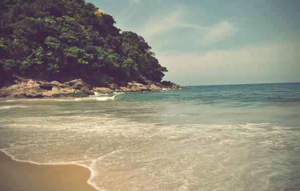 Picture sea, wave, summer, the sun, trees, stones, heat, stay, heat, splash, vacation, surf, noise