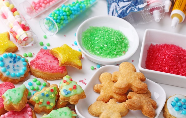 Picture food, cookies, candy, figures, dessert, cakes, Christmas, powder