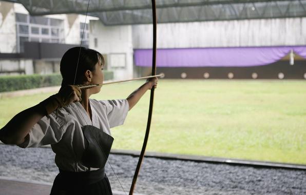 Picture girl, bow, Archer, arrow, Japanese, asymmetric