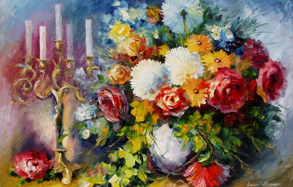 Picture flowers, bouquet, candles, art, vase, candle holder, Leonid Afremov