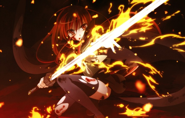 Picture girl, fire, sword, anime, art, shakugan no shana, Shana