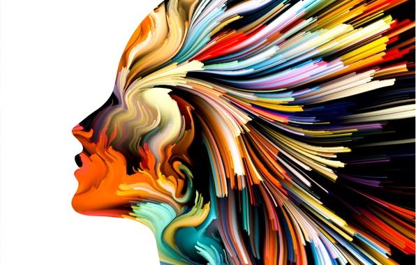 Picture colors, woman, art, figure, lines, head