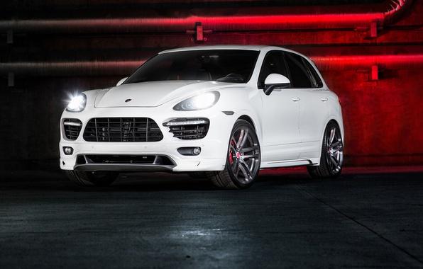 Picture Porsche, white, Vorsteiner, front, Cayenne, 958