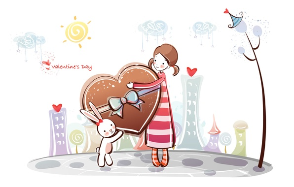 Picture heart, figure, hare, girl, love, Valentine, tree