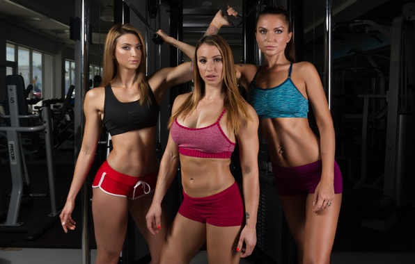 Picture girls, look, pose, group, fitness, sportswear