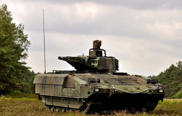 Photo wallpaper armored, infantry, German, combat, machine, the sky, Puma, forest