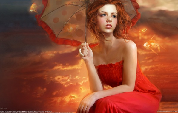 Picture girl, fish, fiction, figure, umbrella, in red