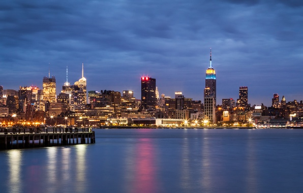 Picture the sky, night, clouds, the city, lights, river, building, New York, skyscrapers, lighting, USA, USA, …