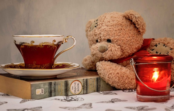 Picture toy, candle, bear, mug, Cup, book, saucer, Teddy bear
