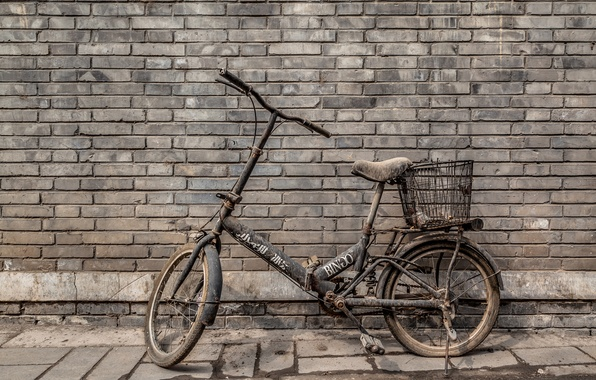 Picture bike, wall, dirt, bricks
