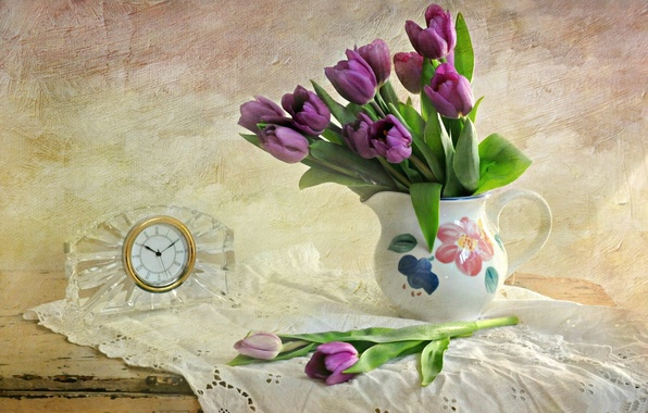 Picture table, wall, watch, purple, tulips, vase, tablecloth