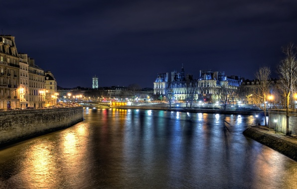 Picture night, lights, river, Paris, france, City hall