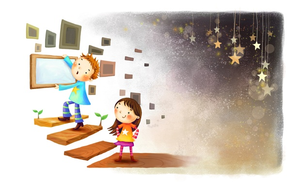 Picture sprouts, smile, figure, stars, boy, frame, ladder, girl