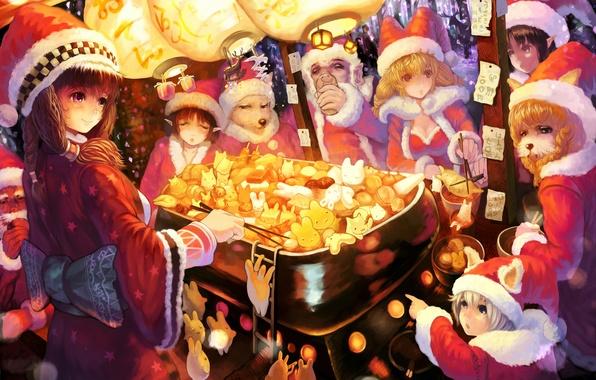 Picture hat, new year, tale, lights, neko, bunnies, appetizer, sakai yoshikuni, roaster