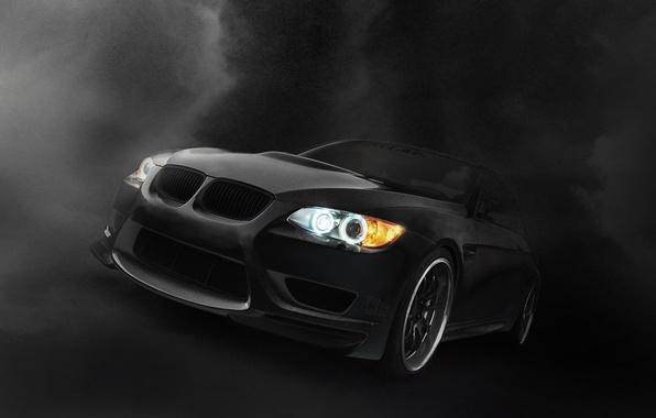 Picture black, lights, BMW, dark, twilight, Bmw, black car