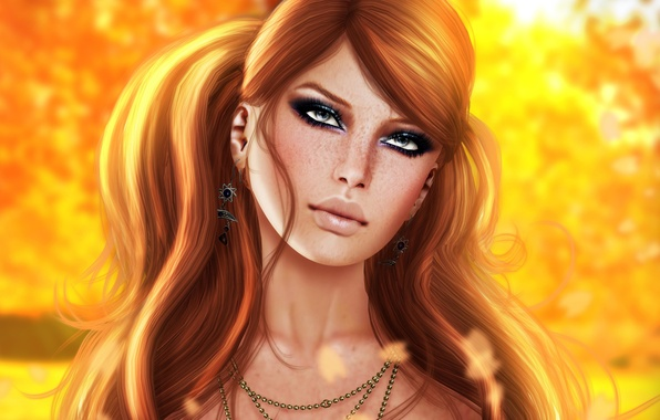 Picture look, girl, face, rendering, background, hair, lips, freckles