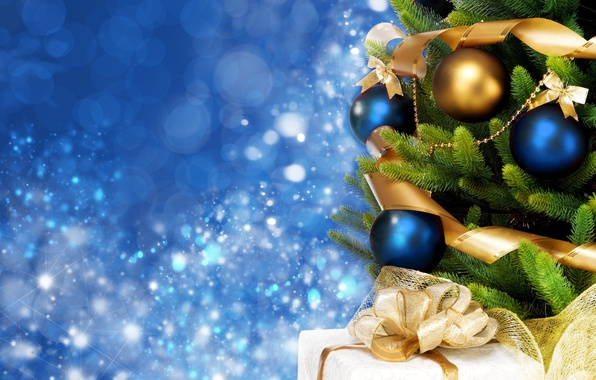 Picture background, holiday, blue, widescreen, balls, Wallpaper, tree, new year, spruce, gifts, wallpaper, new year, bow, …
