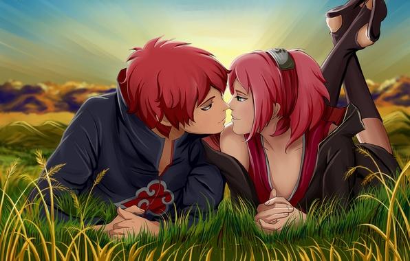 Picture grass, girl, sunset, headband, guy, ninja, Naruto, art, pink hair, Sakura Haruno, No time for ...