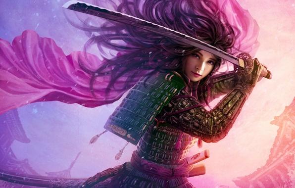 Picture girl, the wind, hair, Asia, sword, katana, art, armor, cloak, mario wibisono, utaku ji-yun, legend …