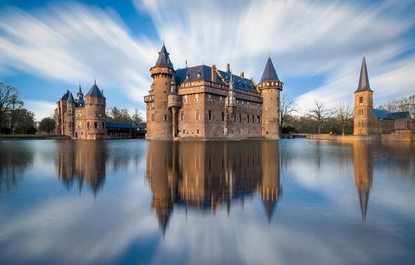 Picture the sky, clouds, the city, reflection, river, castle, Netherlands, De Haar, Utrecht