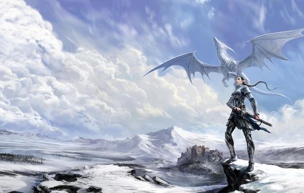 Picture winter, girl, clouds, snow, castle, rocks, the wind, dragon, fantasy, art, elf, anndr
