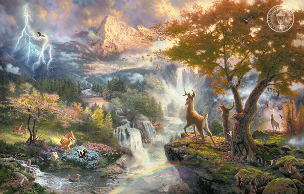 Picture animals, mountains, birds, nature, river, cartoon, waterfall, Bambi, beautiful, painting, art, Thomas Kinkade, painting, Walt …