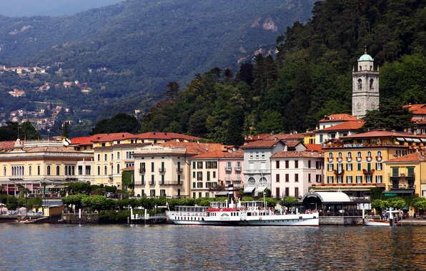 Picture sea, forest, mountains, the city, photo, home, Italy, Lombardy, Bellagio
