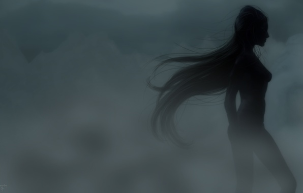 Picture girl, fog, rendering, silhouette, profile, long hair, is