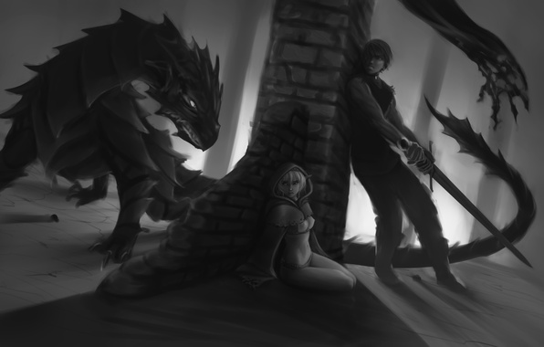 Picture girl, fear, dragon, elf, sword, art, black and white, guy