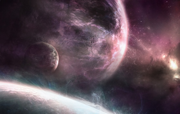 Picture space, nebula, planet, vortices