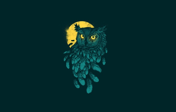 Picture the dark background, owl, bird, minimalism, feathers, moon, owl, yellow moon