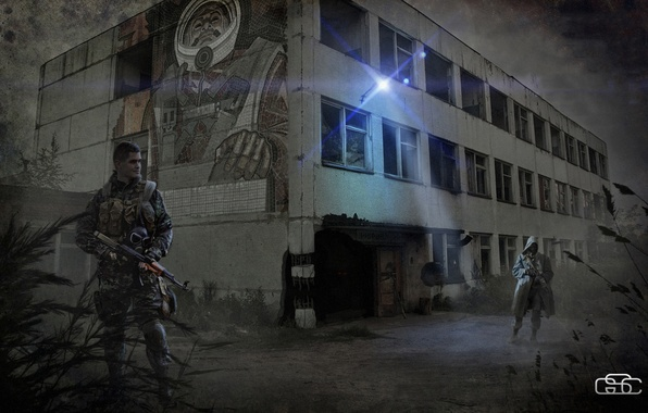 Picture the city, soldiers, Stalker, Stalker, military, Pripyat, area