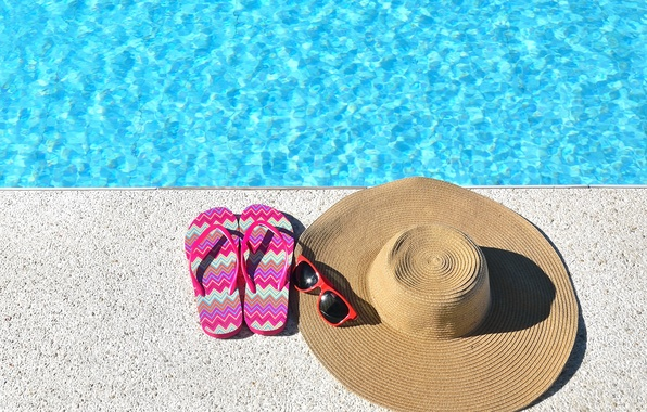 Photo wallpaper beach, summer, stay, hat, pool, glasses, summer, beach, vacation, slates, vacation, accessories