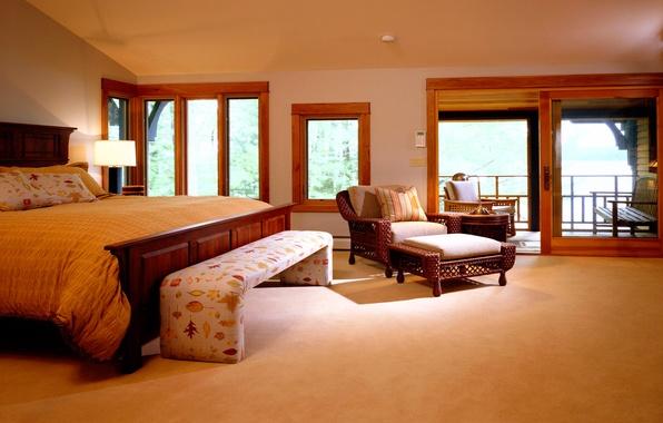 Picture yellow, design, style, room, Windows, lamp, bed, interior, chair, apartment, Koricheva