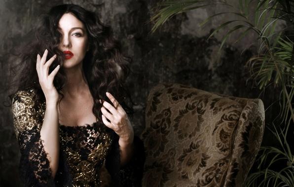 Picture face, woman, model, hair, hands, makeup, dress, actress, brunette, Monica Bellucci, Monica Bellucci, curls