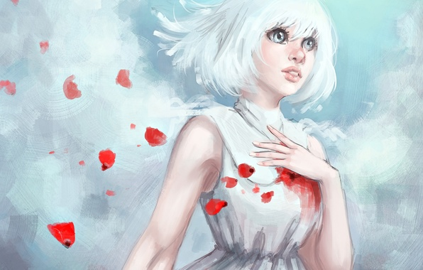 Picture look, girl, petals, dress, art, white hair