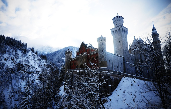 Picture winter, snow, trees, mountains, Germany, Bayern, Neuschwanstein castle-treasure of the Alps