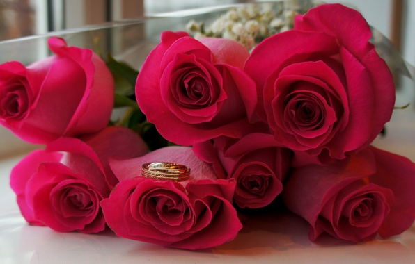 Picture flowers, roses, bouquet, ring, wedding