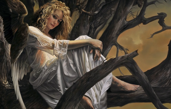 Picture tree, woman, wings, angel, art